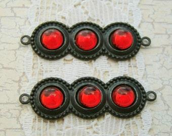 Vintage Ruby Red Jewel Cabochons Connectors Matte Black Settings  - 2