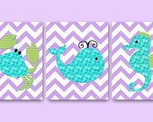 Sea Crab Nursery Whale Nursery Baby Nursery Decor Baby Girl Nursery Kid Wall Art Baby Room Decor Nursery Print set of 3 8x10 Seahorse Purple