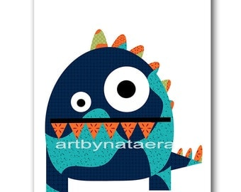Monster Nursery Baby Nursery Decor Baby Boy Nursery Kids Wall Art Kids Art Baby Room Decor Nursery Prints Blue Orange Green Baby Gifts