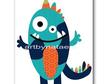 Monster Nursery Baby Nursery Decor Baby Boy Nursery art Print Kids wall art Kids Art Baby Room Decor Nursery Print blue orange green