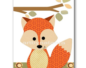Fox Nursery Print Baby Nursery Decor Baby Boy Nursery Kids Art Kids Wall Art Baby Room Decor Baby Boy Print Orange Baby Shower Gift