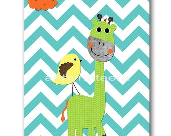 Giraffe Nursery Art Nursery Decor Baby Boy Nursery Wall Art Children Room Decor Kids Decor Kids Art Baby Art Print Orange Blue Gray