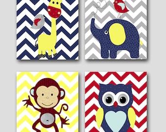 Monkey Nursery Owl Nursery Giraffe Nursery Elephant Nursery Baby Boy Nursery Art Print Children Wall Art Baby Room Decor Print set of 4