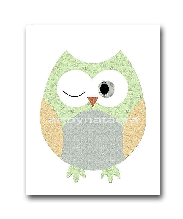 owl decor owl nursery wall baby nursery by artbynataera