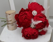 brooch bouquet, wedding bouquet, paper flower bouquet, wedding brooch, wedding flowers, wedding decor, red peonies