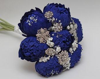 brooch bouquet, wedding bouquet, alternative bouquet, paper flower bouquet, bridal bouquet, blue peonies bouquet