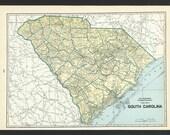 Vintage Map of South Carolina From 1935 Original