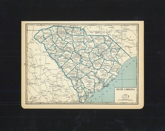 Vintage Map South Carolina From 1933 Original