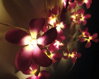 35 Flowers Purple Frangipani Fairy String Lights Party Patio Wedding Floor Table Hanging Gift for her Home Living Bedroom Floral Decor 3.5m