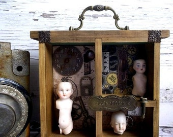 Victorian Times Nostalgic Mixed Media Shadowbox Anitique Dolls