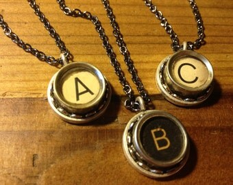 Typewriter Key Necklaces (Message me before ordering--I don't have all 26 letters!)