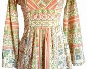 Vintage 60s / 70s Novelty Tribal / Native Cross-Stitch Print Bell / Kimono Sleeve Boho Hippie Mini Dress XS S M