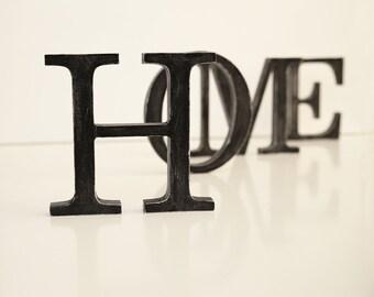SALE % HOME decorative wood letters distressed wooden decor vintage sign