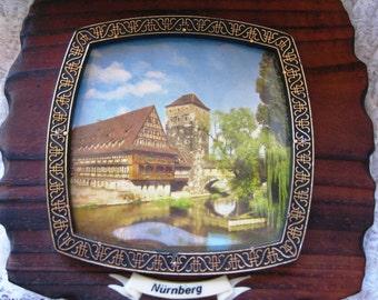 Vintage Tourist Memorabilia Nurnberg Photo on Wood Plaque 6 X & Good