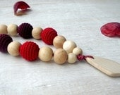 Teething necklace Nursing necklace with teether  Wine color  Baby toy teether