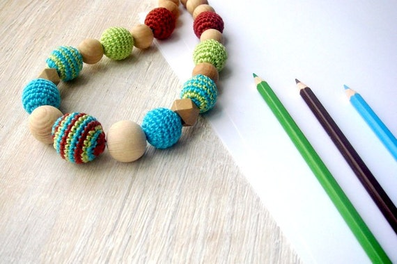 Sale Babywearing necklace,Nursing beaded,Teething necklace,Geometric striped necklace,Green blue brown,Crochet Necklace,chewing beaded