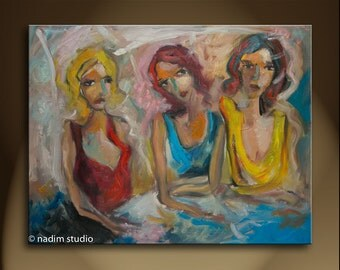 Oil Painting Modern Original Art  Impressionist Abstract Portrait CAFE