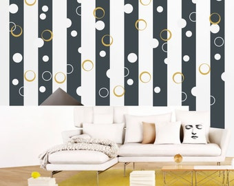 Bubbles stripes wall art - removable vinyl wall decal / sticker