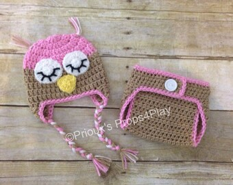 Crochet Photo Prop, Owl Costume, Owl Beanie, Baby Shower Gift, Photo Prop, Baby Owl, Owl Baby, Pink Owl, Owl Outfit, Baby Gift, Owl Set