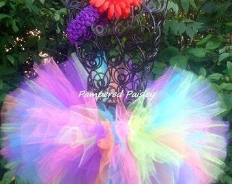 Neon Rainbow Tutu Rainbow Tutu Bright Tutu Birthday Tutu Rainbow sizes Newborn 3 mo 6 mo 9 mo 12 mo 18 mo 24 mo 2t 3t 4t 5t 6 8 10 12 14