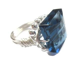 Swarovski Crystal Square Cut Wire-Wrapped Denim Blue ,sparkle ring, fun ring ,flirty, fabulous