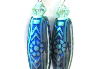 Mood Earrings- Swarovski, Teal Blue, Color Changing, Summer Jewelry, Unique, Something Different, Gift For Her, Dangles