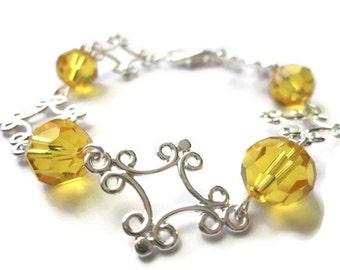 Swarovski Yellow Bracelet, Ball Bracelet, Silver Linked Bracelet, Swarovski Jewelry, Custom Bracelet, Summer Jewelry