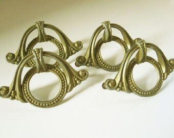 Four Very Nice Victorian/ Art Nouveau Drawer Pulls in Faux Brass Including Screws - Ready to Install - Interior Design - Furniture Design