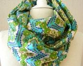 LIX PERLE:  Moc Moc Girl Infinity Scarf, Geometric Moroccan print, Circular loop tube versatile unisex scarf