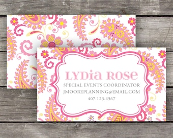 Printable Business Cards / Calling Cards - Pink Paisley