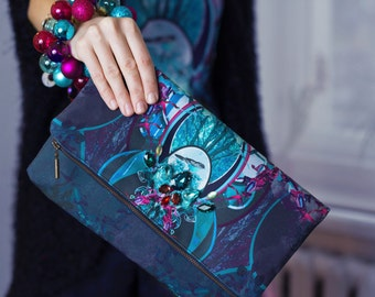 Magic Forest - printed  theater clutch bag