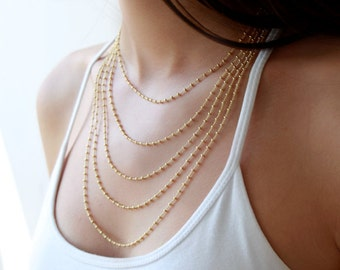 Multi layered chain necklace - layering jewelry - gold layered necklace - bridal necklace - wedding jewelry