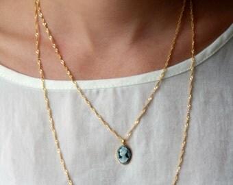 Double chain, gold necklace, vintage pendant, Layered necklace, Multi chain necklace,14k goldfilled ,Vintage sty