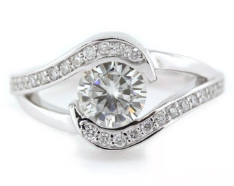 Bypass moissanite engagement ring diamond setting 14k or 18k gold palladium or platinum custom moissanite ring