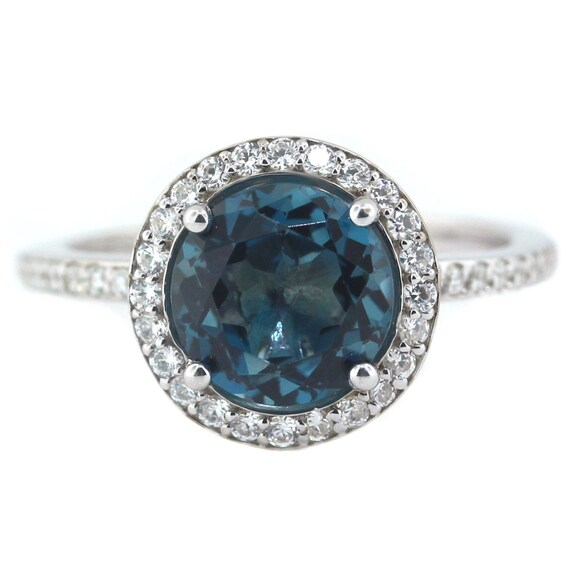 Items Similar To London Blue Topaz Engagement Ring Diamond Side Stones 14k Gold On Etsy