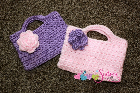 Crochet Small Purse : Small Crochet Handbag with Flower - Custom Purse - Custom Crochet ...