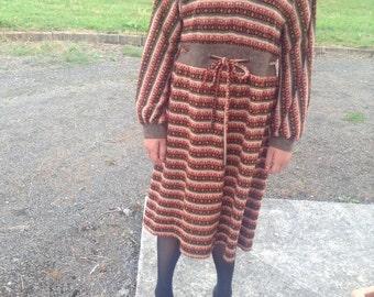 Bright folk art print brown red knit blend dress free international posting