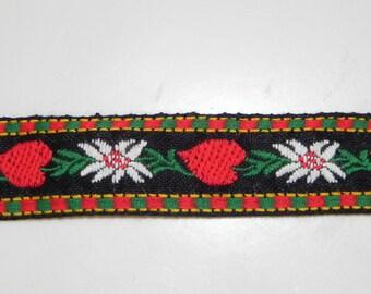 """Vintage Trim Embroidered Austrian Black Forest Edelweiss Heart Bavaria Costume Trimwork 1970s 7/8"""" Trim 1 Yard"""
