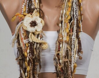 Yellow and CREAM and Brown YARN Fall Scarf. Autumn Loop scarf. Circle scarf and neckwarmer.