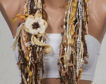 BIG Winter Sale.  Yellow and CREAM and Brown YARN Fall Scarf. Autumn Loop scarf. Circle scarf and neckwarmer.