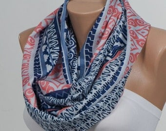 Cotton SCARF. Scarf. Loop scarf. Circle oversize scarf. Orange and Cream and Blue and Red.FREE Shipping
