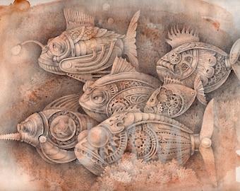 """Steampunk Fish - fine art print 12""""x 9"""""""