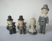 Vintage THANKSGIVING: Pilgrim candles - Gurley Novelty Co.