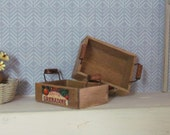 Miniature Wooden Crates Vintage  Style Dollhouse Accessory Handcrafted 12th Scale