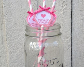 12 Pink Cupcake Bow Straws - Pink Decorations Birthday Party