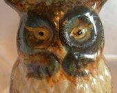 Earth Tone Browns and Cream Ceramic Glazed Pottery Owl Figurine - Label MADE IN JAPAN - Vintage
