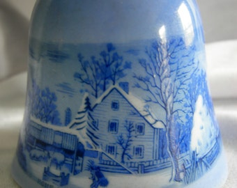 Blue and White Porcelain Bell - Homestead In Winter - Marked Copenhagen Bell Series AMERICAN TREASURY Currier and Ives Japan - Vintage 1976