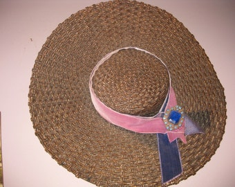 1940s Woven Straw Wide Brim Hat, 18in Wide Brim Woven Straw VINTAGE HAT, Unusual Straw Hat with Rhinestones Big Brim