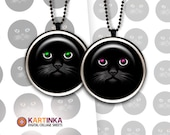BLACK CAT Colorful EYES 1 inch & 1.5 inch Images for Resin pendants Bottle caps Round bezel cabs Jewelry Mountings cameo settings Cabochons