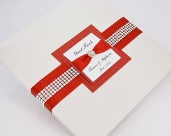 Wedding Guest Book - Personalized - red